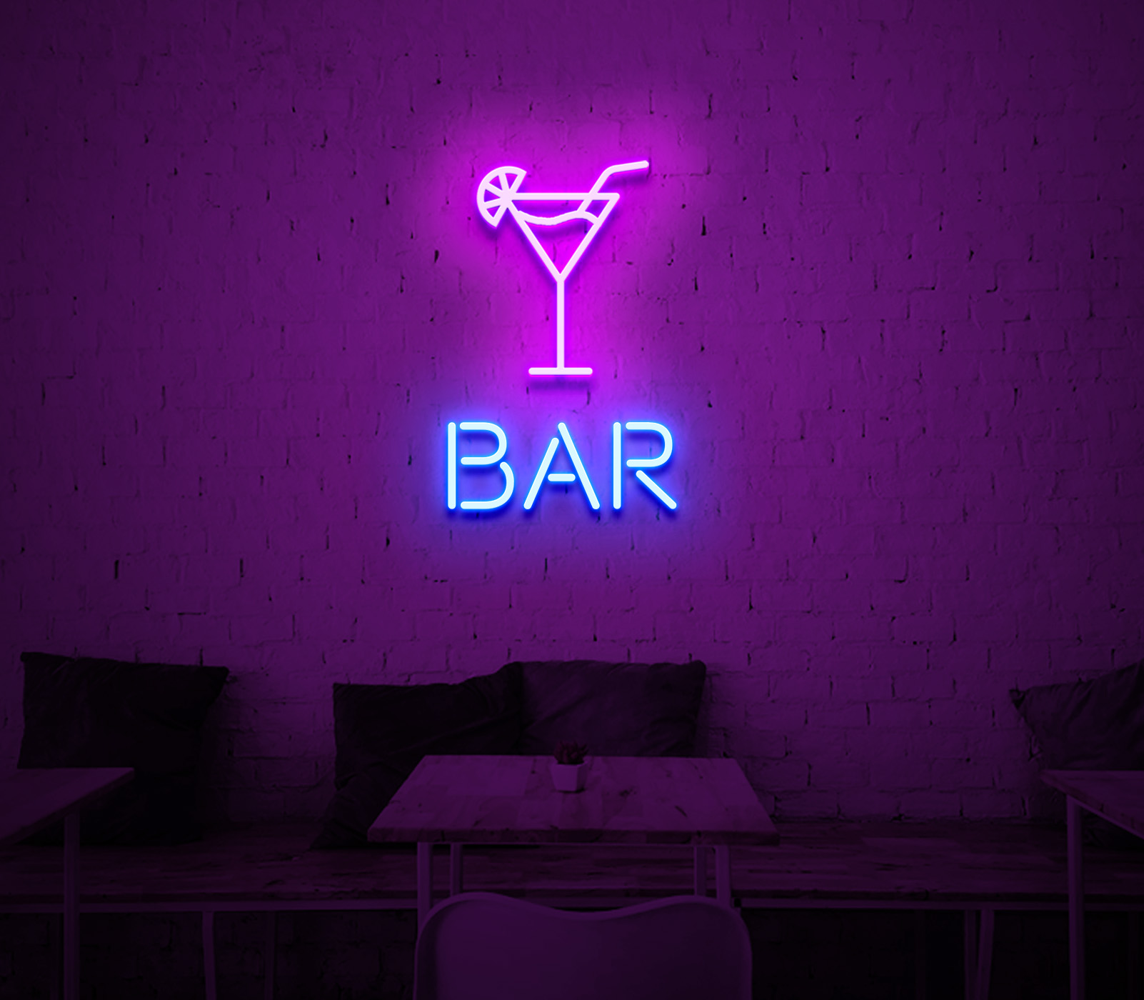 cocktails and bar neon sign